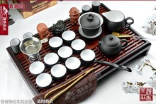 Freeshipping By China post air mail Tea set purple kung fu tea solid wood tea tray pallet