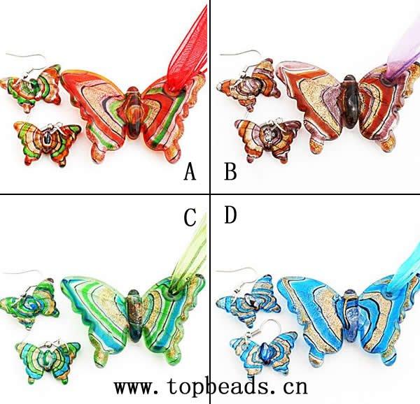 Butterfly Lampwork Murano Necklace Earrings Set, Handmade Murano glass pendants, glass pendant, murano pendant
