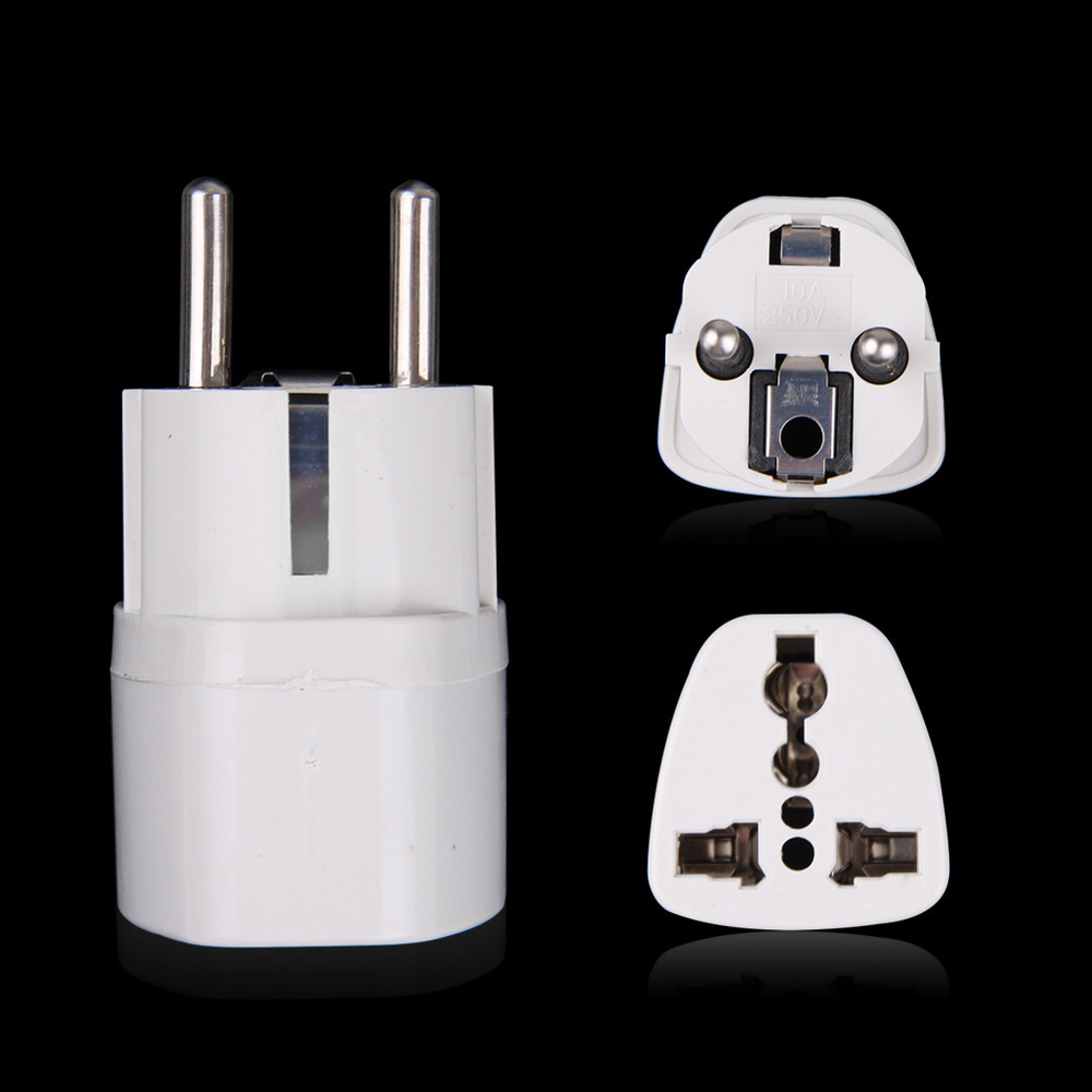 Free Shipping 10pcs/lot White Universal US To EU Plug USA To Euro Europe Travel Wall AC Power Charger Outlet Adapter Converter(China (Mainland))