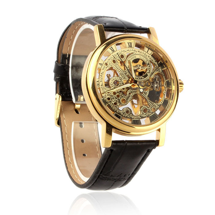 Luxury Brand Mechanical Skeleton Men Watch Hand Wind Up Leather Strap Gold Wristwatch(China (Mainland))