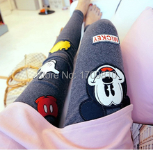 EAST KNITTING Women's Pencil Pants Ball Leggings Character Mouse Printed Fitness Capris Trousers 2 Colors Free Shipping