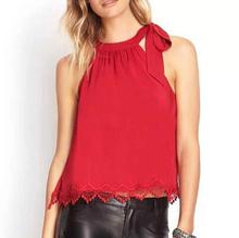 2015 New Fashion Vitange Ladies Solid Sexy Lace Hem Halterneck Crop Blouse Sleeveless Drawstring Shirt Casual Brand Top Blusas(China (Mainland))