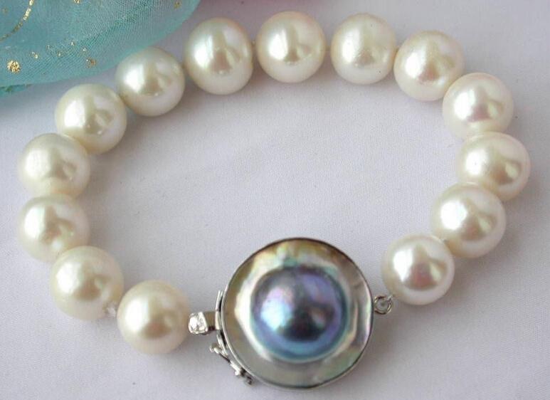 "Miss charm Jew.232 8"" round white freshwater pearl bracelet silver mabe(China (Mainland))"
