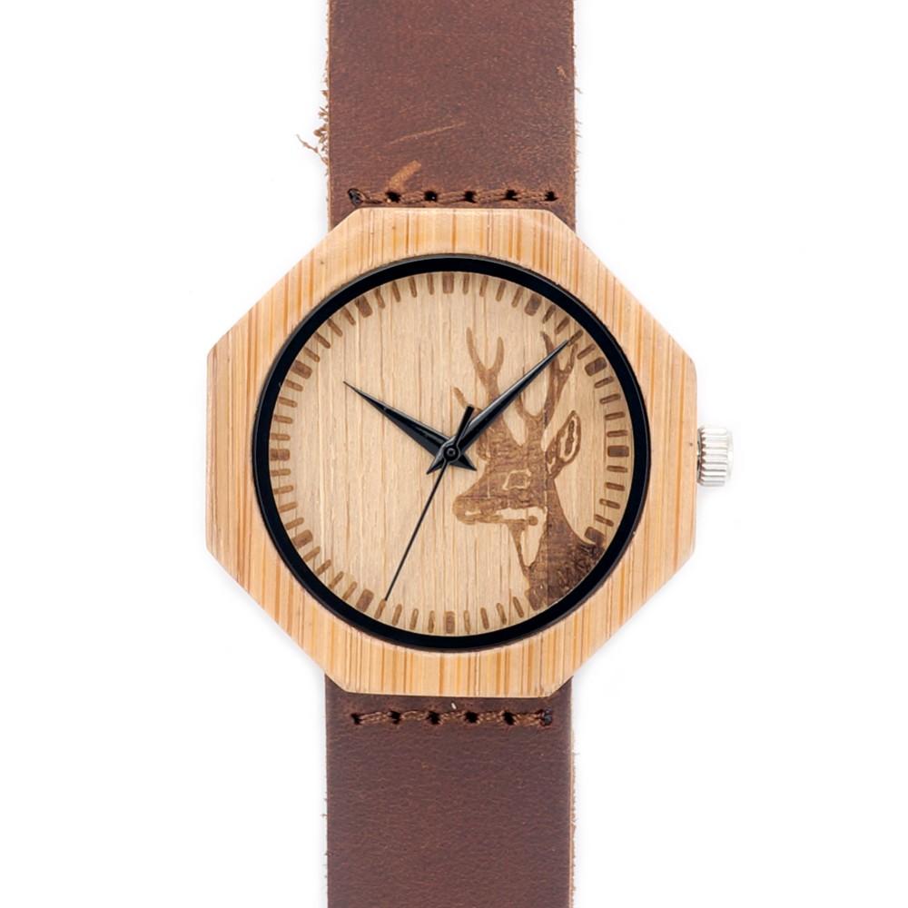 Гравированные Лося Головы Натуральные Деревянные Часы С Подлинной Натуральной Кожи Любителей Роскошные Наручные Часы Мужские Деревянные Часы в качестве Подарков
