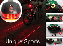 Waterproof Bicycle Laser Tail Light Bike Safety Red Rear Warning Light Cycling Safety Caution Lamp  2 Lasers + 5 LEDs