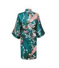 Silk Satin Wedding Bride Bridesmaid Robe Floral Bathrobe Short Kimono Robe Night Robe Bath Robe Fashion Dressing Gown For Women(China (Mainland))