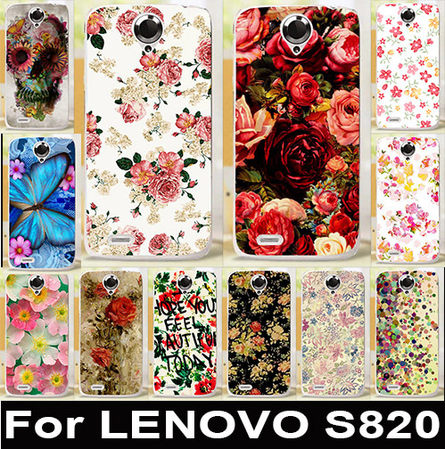 For Lenovo S820 Cover luxury Fashion Flower Butterfly Skin Design Custom Printed Hard Plastic Protective Phone Cases Bags(China (Mainland))