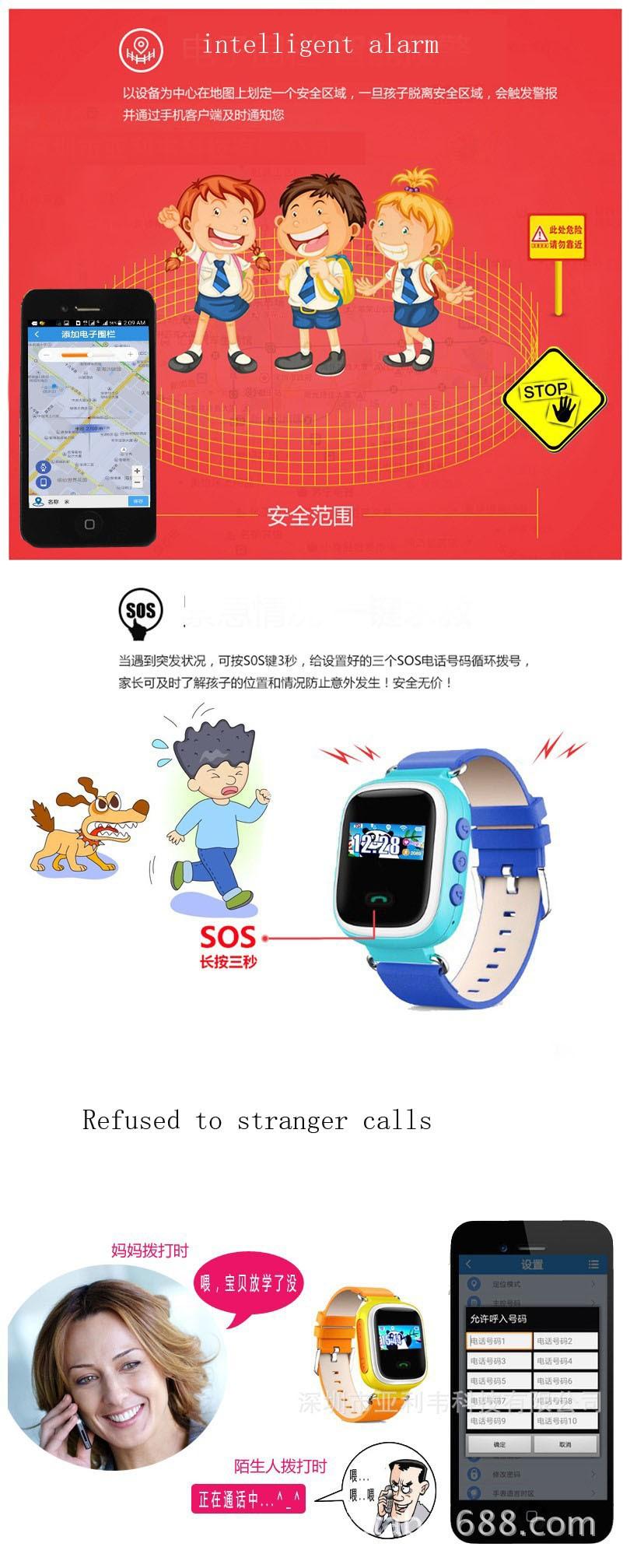 Смартфон часы дети kid наручные вызова цветной экран positiong карты телефон GPS часы smartwatch для ios и Android