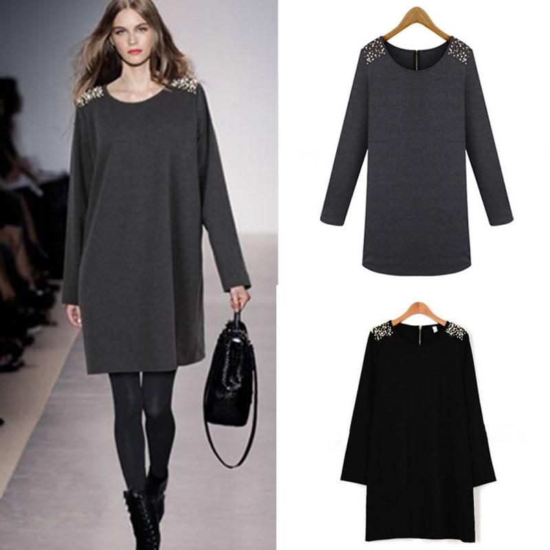 2015 New Women Clothing Spring Autumn Long Sleeve Dress Ladies Casual Party Dress Vestidos Plus size XL-5XL(China (Mainland))