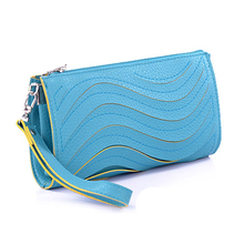 2016 New Fashion Waves Sewing Women Clutch Bag Multi Color PU Leather Messenger Bag Women Cheap Evening Bags Small Wallet Clutch(China (Mainland))