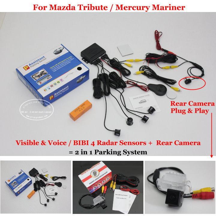 For Mazda Tribute / Mercury Mariner - Car Parking Sensors + Rear View Back Up Camera = 2 in 1 Visual BIBI Alarm Parking System(China (Mainland))