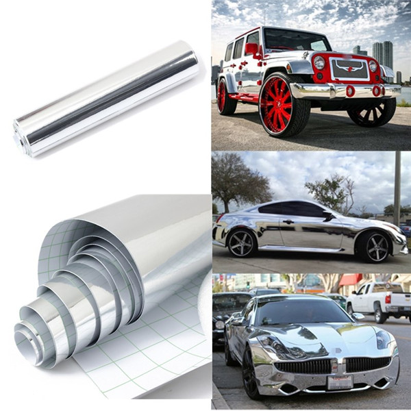 Top Selling 8''x60'' 20*152cm Waterproof UV Protected Silver Chrome Mirror Vinyl Wrap Sheet Roll Film Car Sticker Decal Sheet(China (Mainland))