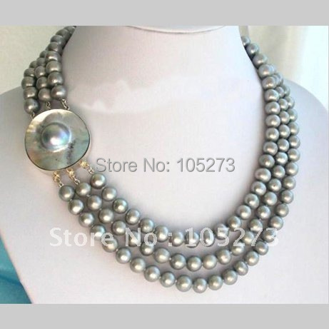 Stunning 3Rows AA 9-10MM Round Gray Freshwater Cultured Pearl Necklace Mabe Clasp 18-20inch Pearl Jewelry New Free Shipping<br><br>Aliexpress