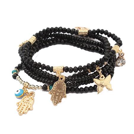 Fashion Strand Bead Bracelet Femme Evil Eye Buddha Charm Bracelet Seed Bead Jewelry for Women 2016 Stretch Bracelet(China (Mainland))
