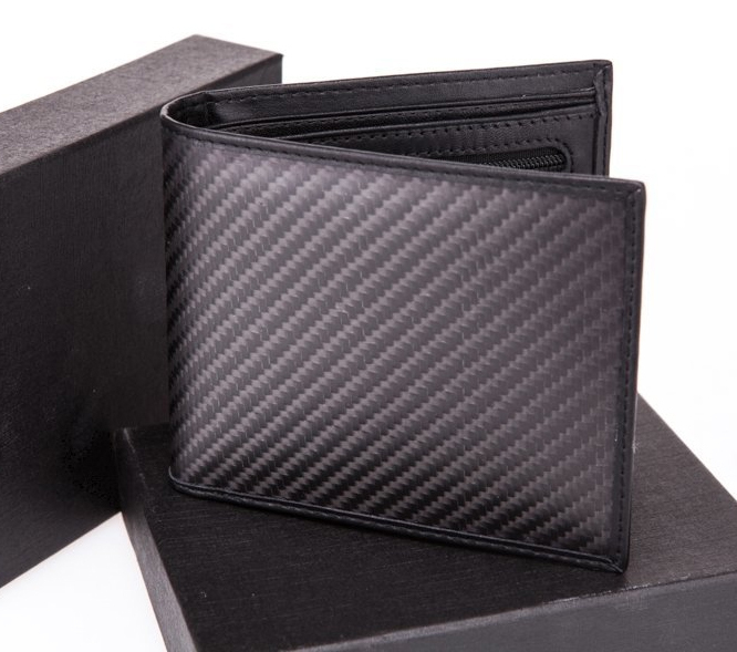 High-grade Lenuine carbon fiber + leather Male man mco travel wallet Matte 30g 11.5*9.8cm dollar price(China (Mainland))