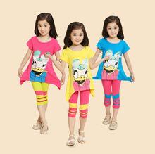 2015 Hot & New Girls short-sleeved suit summer new Korean children Donald Duck suit girls clothing set(China (Mainland))