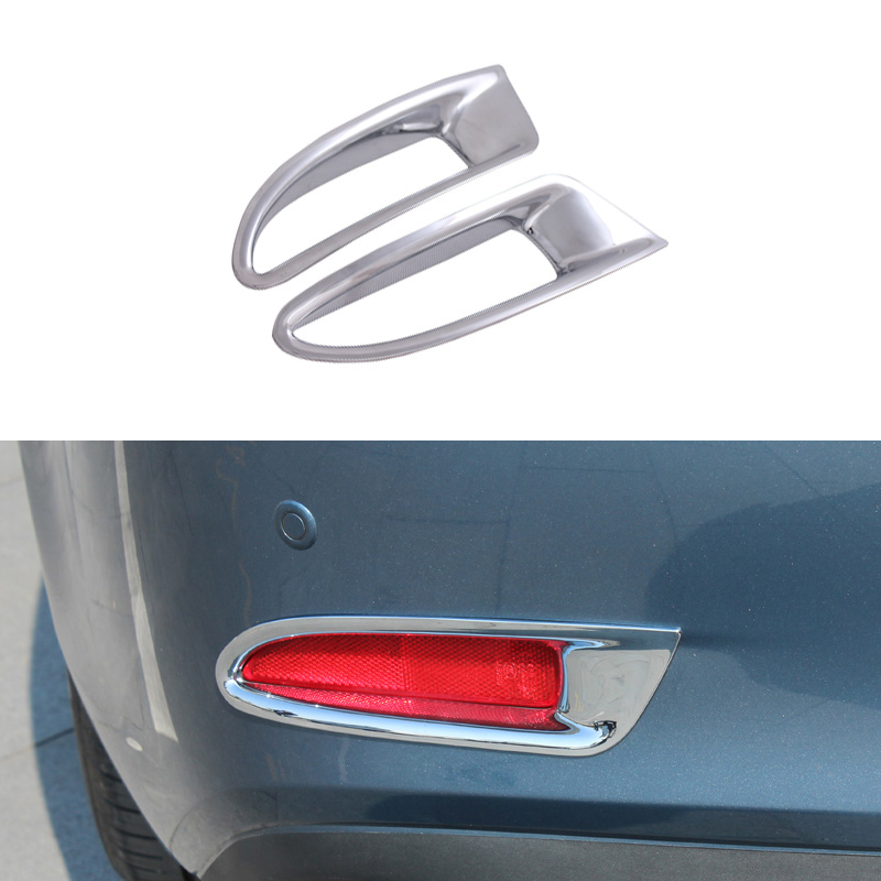 1 Pair Abs Chrome Car Styling Rear Tail Fog Light Decoration Cover Exterior Accessories For