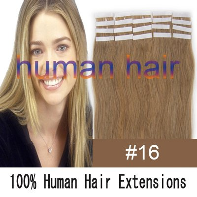 18inch 45cm long Tape remy Human Hair Extensions #16 ash blonde color 40gram<br><br>Aliexpress