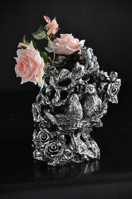 Resin home decoration 1036 Club House furnishings rose magpie bird vase flower ornaments free shipping(China (Mainland))