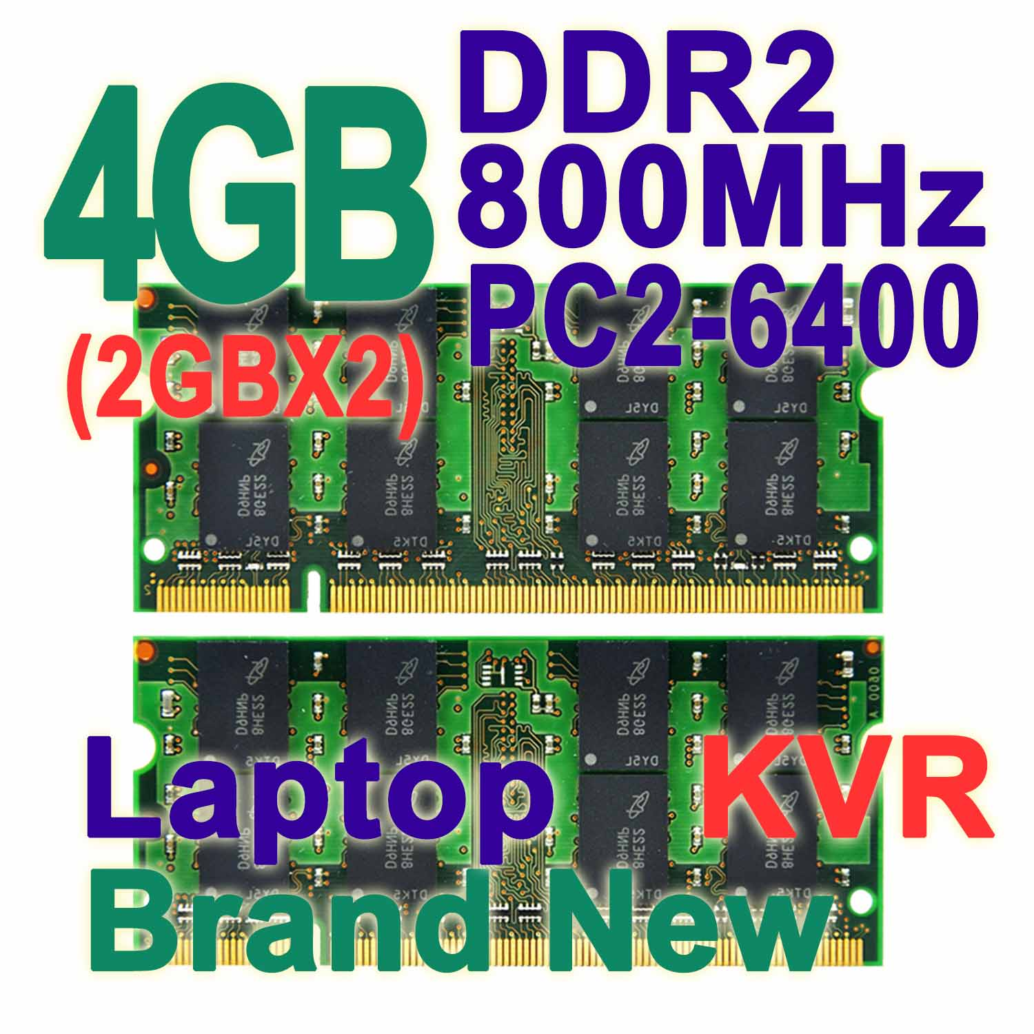 Memoria RAM DDR2 4GB 800 MHz Laptop Kit (2GBX2) Dual Channel 200-pin SODIMM PC2-6400 Non-ECC CL6 For Intel &amp; AMD Notebook KVR<br><br>Aliexpress