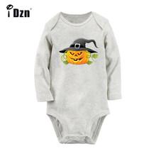 Хэллоуин злой фонарь-тыква черный паук Рок Группа новорожденных боди Одежда с длинным рукавом Onsies комбинезон одежда из хлопка(China)