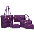 6 Pcs Set Ladies Hand Bags New 2016 Womens Leather Handbags Luxury Designer Plaid Women Messenger