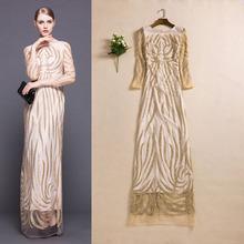 European And American Fashion Show New Noble Bronzing Powder Stripe Slim Dress Long Sleeved Dress(China (Mainland))