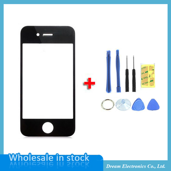 High Quality Black Front Glass Screen For iPhone 4 4S 4G Replacement Outer Lens for Lcd Screen Digitizer with Opening Tools