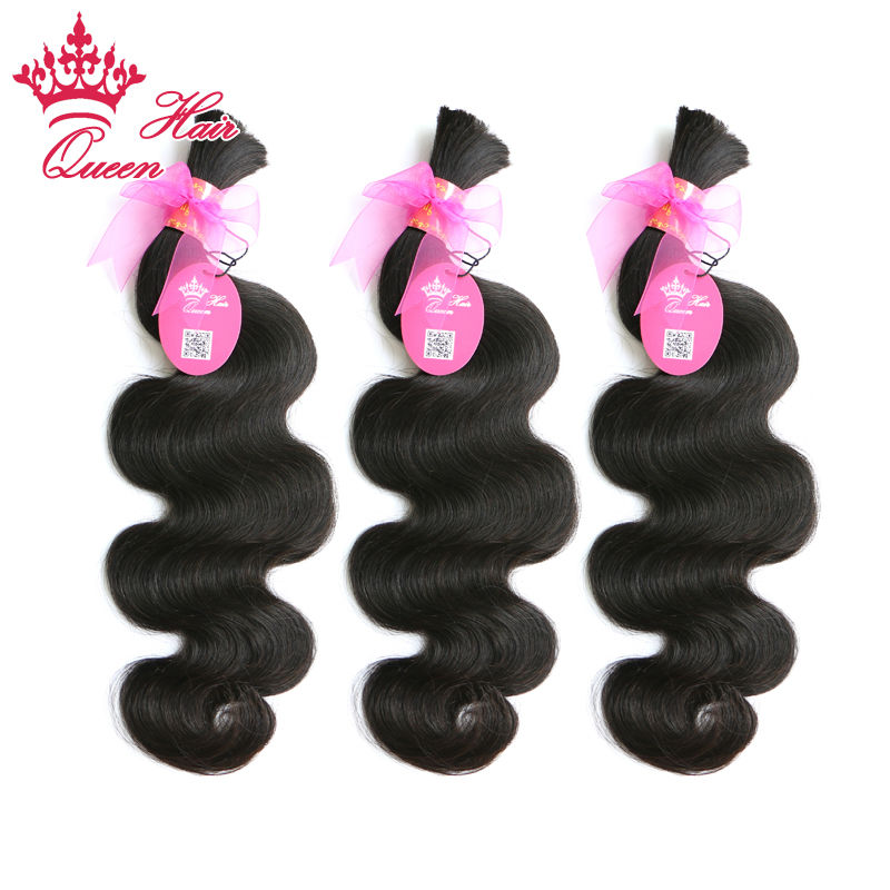 Queen Hair Products 100% Unprocessed Human Hair For Braiding No Attachment Brazilian Body Wave 3pcs Human Braiding Hair Bulk