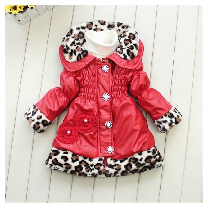 2015 New arrival baby girls winter long sleeve leopard coat children cotton-padded clothes kids warm outwear<br><br>Aliexpress