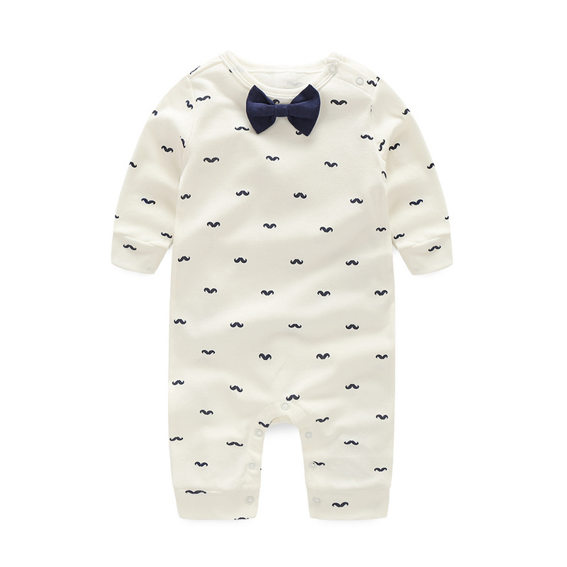 Baby Rompers Spring Autumn Active Full Sleeve Baby Boy Girl Clothes Print Beard Cotton Children Clothing Newborn Birthday Dress(China (Mainland))