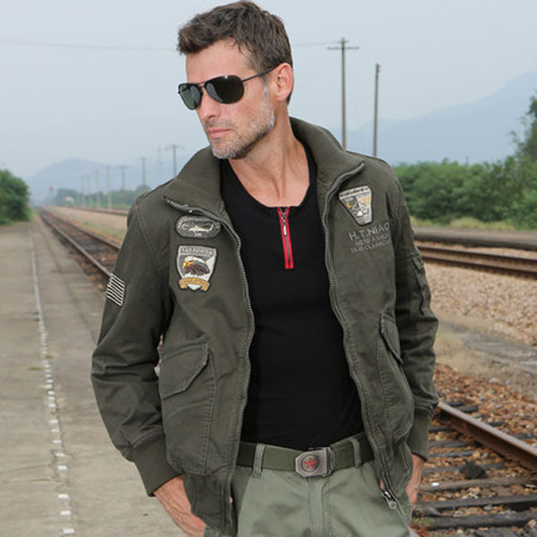 Men'S Casual Outdoor Military Uniform Jacket Large Size Khaki/Army Green Turn Collar Embroidered Badges Autumn Coat J158 - yue clothes store