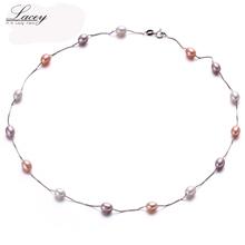 Muilt Природный жемчуг ожерелье 100% ожерелье стерлингового серебра 925, 6-7 мм Настоящее Искусственный Пресной Воды жемчужные Украшения для Женщин подарки(China (Mainland))
