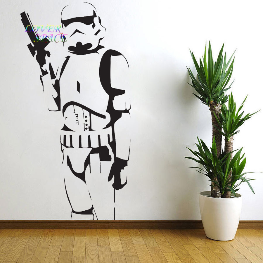 Star wars poster large storm trooper vinyl wall sticker for Silhouette wall art