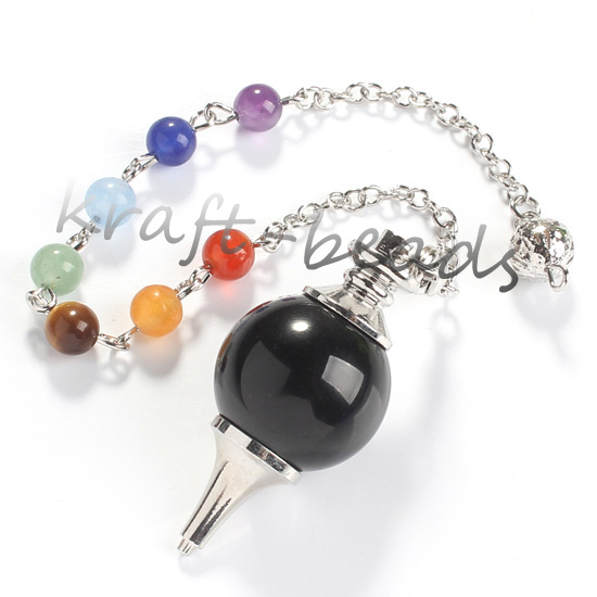 wholesale 10Pcs Charm Silver Plated 7 Stone Beads Chain Black Agate Stone Chakra Healing Point  Dowsing Pendulum Pendant Jewelry