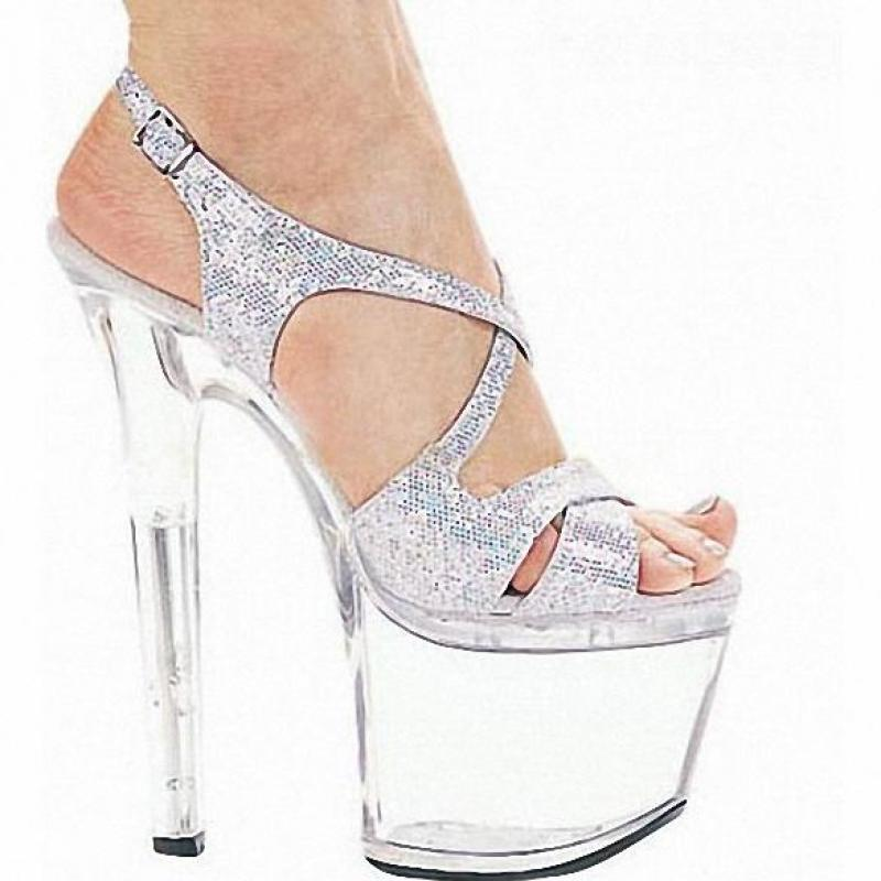 Фотография Customize Colorful Sexy High-heeled Shoes Crystal Sandals Shoes 7 Inch Stiletto Clear Platforms Silver Glitter Sexy Shoes D0214