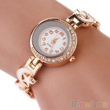Mujeres Rhinestone estrella de la luna Faux Suede análogo de cuarzo del brazalete reloj de pulsera 27XN