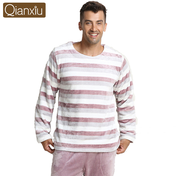 Qianxiu Fashion Soft Fabric Classic Stripes Long-sleeve pants Pajama set For Men Women Couples Lovers homewear sleepwear