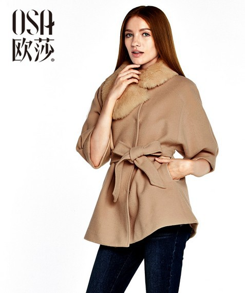 OSA 2014 Design New Womens Winter Woolen Coats With Removable Fur Collar Three Quarter Sleeve Single Breasted Overcoats SD403007(China (Mainland))