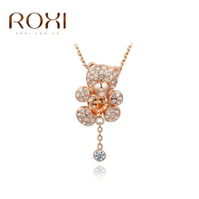 ROXI Brand Little Bear Pendant Necklace with Heart Austrian Crystals Rose Gold Color Hand Made Fashion Womens Party Jewelry(China (Mainland))