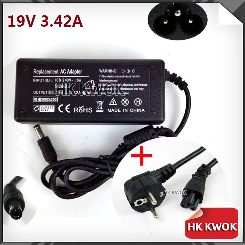 EU Power Cord + 19V 3.42A 5.5 X 2.5mm N101 Laptop For asus/lenovo/toshiba/BenQ AC Adapter Power Supply Charger Free Shipping(China (Mainland))