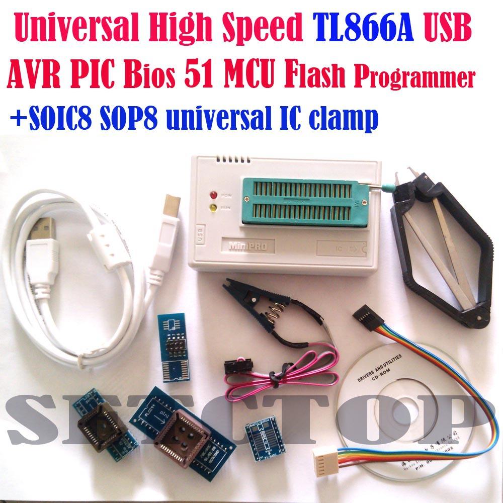 TL866a programmer +4 adapters+ IC CLIP Russian English manual High speed TL866 PLCC AVR PIC Bios 51 MCU Flash EPROM Programmer(China (Mainland))