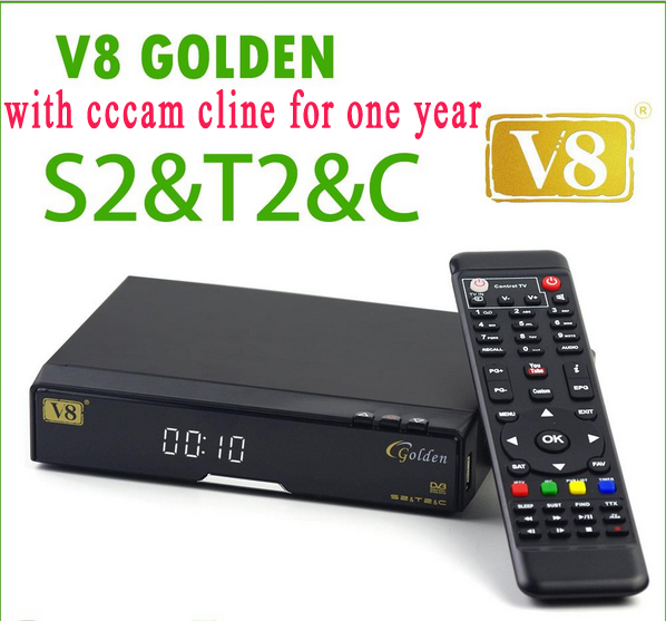 V8 Golden COMBO decoder Satellite TV Receiver with one year europe cccam cline DVB-S2 + DVB-T2 Twin Tuner Support CCcam NEWcamd(China (Mainland))