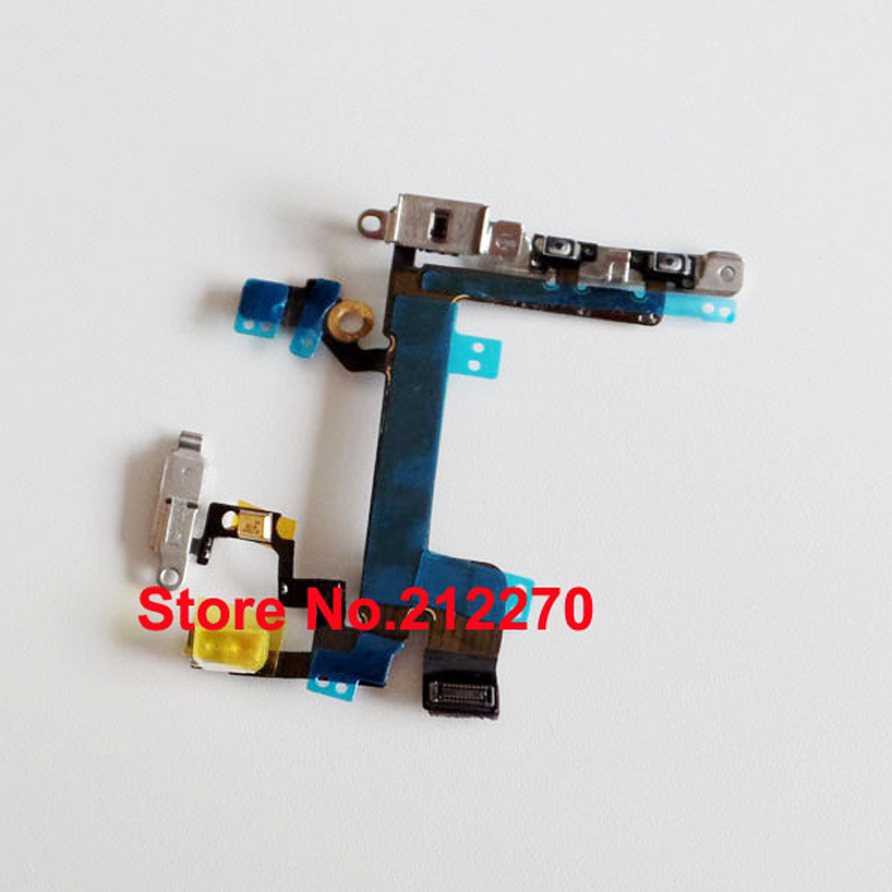 50pcs/lot Power Mute Volume Button Switch Connector Flex Cable Ribbon With Metal Bracket For iPhone 5S Wholesale(China (Mainland))