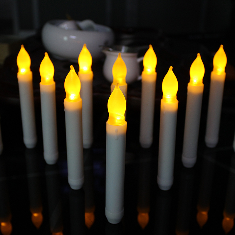 12pcs/lot Flameless Taper Candle Wholesale Thin Battery Operated Taper Candle Decorative Pillar Electric Taper Candle For Dinner(China (Mainland))