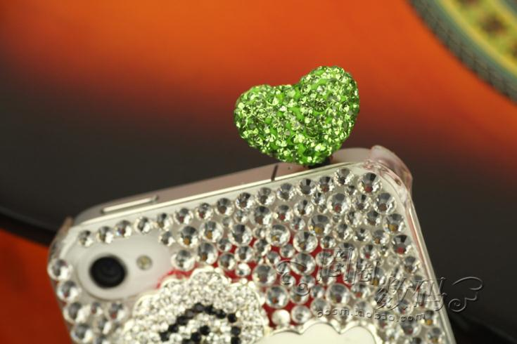 3.5 mm Full diamond rhinestone heart the dust plug headphones phone ear cap for cell phone accessories 10pcs/lot wholesale