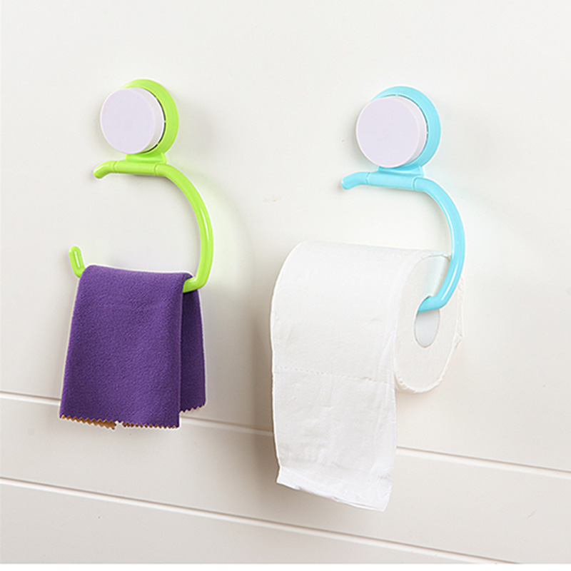 Household Creative Strength Seamless Wall Suction Hanger Towel Tissue Toilet Paper Holder Rack Bathroom Kitchen(China (Mainland))