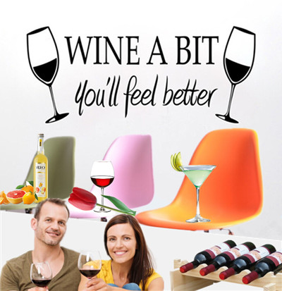 Wine A Bit Kitchen Wall Sticker DIY Home Decor Living room Sofa Bar Restaurant Dining room Background Mural Art Decal Wall Paper(China (Mainland))