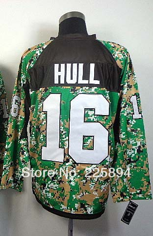 2014 New Arrival AAA+++ Men's American Hockey #16 Brett Hull Camo Hockey Jersey All Stitched Embroidery Number & Name(China (Mainland))