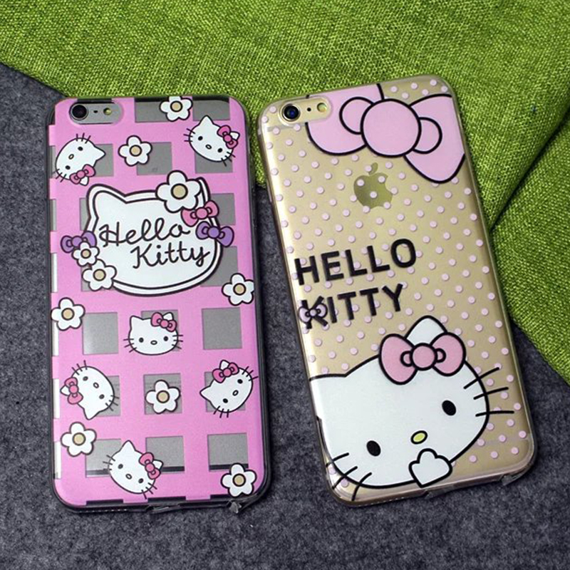 "Transparent soft TPU Funda Couqe phone case hello kitty cartoon cover for iPhone 6plus 6splus 5.5 "" 6 6s 4.7"" coque freeshipping(China (Mainland))"